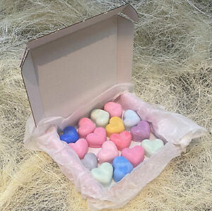 16 Homemade Highly Scented Wax Hearts - 100% Soy Wax Melts Candle Burner Gift
