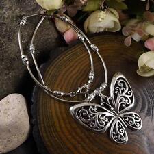 Retro Vintage Tibetan Silver Hollow Butterfly Pendant Necklace Bohemian Jewelry
