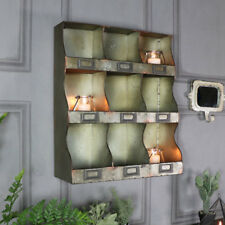 Rustic industrial metal shelving unit pigeon hole compartment retro office shelf