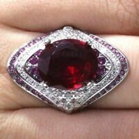 3 Ct Oval Red Ruby Halo Ring Women Wedding Jewelry Gift 14K White Gold Plated