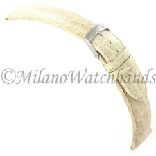 18mm Morellato Beige Crocodile Grain Padded Genuine Leather Mens Watch Band 751