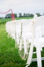 16 Pcs Tulle Lace Greenery Pew Chair Aisle Bow Rustic Wedding Shower Decor