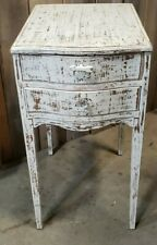 Vintage Wood Nightstand Cabinet Side Table 2 Drawer Shabby Chic