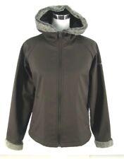 Columbia Jacket Sz L Large Poly Knit Brown Zip Coat Faux Fur Trim Fleece Lined