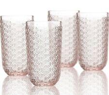 Elle Decor Bistro Key Vintage Inspired Highball Glass Barware 14 oz 4 Piece Pink