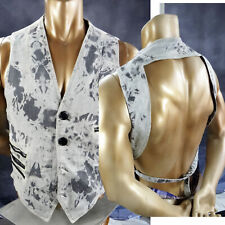 Steampunk vest backless GRAY LARGE bleach destroyed distressed denim ombre stone