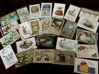 Lot of 25 Easter Holiday~Vintage~Postcards with Chicks~Bunnies~Flowers-c100