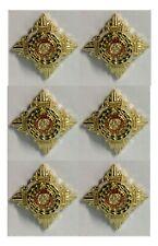 British Army Rank Pips, X 6 Gold & Enamel Regulation Issue  (nsn131)