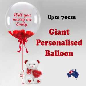 PERSONALISED JUMBO GIANT BUBBLE BALLOON  BABY SHOWER BIRTHDAY PARTY CHRISTENING