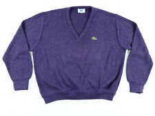 Vintage Izod Lacoste V-Neck Sweater 100% Orlon Acrylic Women's Purple Size L