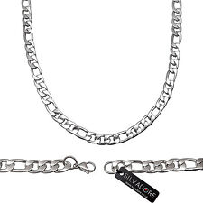 Silvadore - FIGARO Silver Stainless Steel Men's Chain Necklace 20'' 51cm
