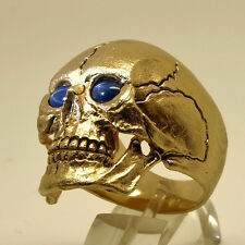 14K Yellow Gold Skull Ring Sapphire Biker Harley Masonic Memento Mori all Sizes