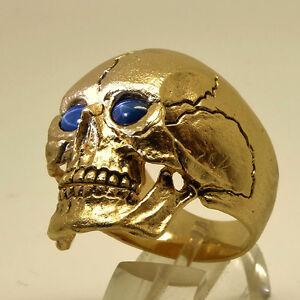 14K Yellow Gold Skull Ring Sapphire Biker Harley Masonic Memento Mori all Sizes
