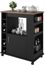 Rolling Kitchen Cart Island Table Liquor Beverage Wine Rack Storage Cabinet