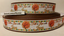 """Grosgrain Ribbon, Fall in Love with Jesus, Autumn Fall Trees with Border, 7/8"""""""