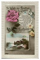Vintage RPPC colour postcard Birthday Card Brother flowers birds river