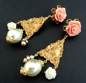 "3"" Victorian Girandole Earrings Runway Statement Baroque Pearl Chandelier Roses"