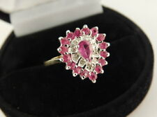 RED SAPPHIRE DIAMOND 10K GOLD PAVE RING HEART PEAR DESIGNER SIGNED SIZE 7