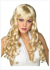 Light Blonde soft feel LONG GLAMOUR CURLS WIG fringe synthetic costume accessory
