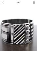 "NWT COACH Silver 1.5"" Black and white Enamel Patchwork Plaid BANGLE Bracelet NEW"