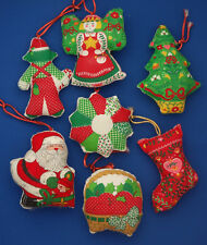 lot of 7 Christmas ornaments mid century hand made quilted fabric stocking Santa