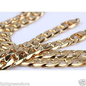 Massive Men's 14K Yellow Gold Filled Heavy Curb Chain Necklace Bracelet Set 135g