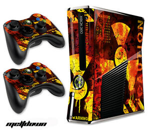 Skin Decal Wrap for Xbox 360 Slim Gaming Console & Controller Xbox360 Slim MELTD