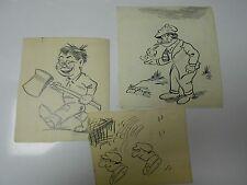 LOT of 3 HAM FISHER Pen & Ink Drawings w/ Beautiful Signature Lot 1