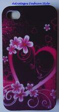Für Apple iPhone 4g 4gs, Soft TPU ähnlich Silikon Case, Herzen Blumen, Neu