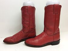 WOMENS JUSTIN WESTERN ROPER LEATHER RED BOOTS SIZE 6 B