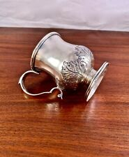 RARE EARLY SAM KIRK COIN SILVER 10.15 MUG CUP - REPOUSSE LEAVES c.1828
