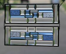 •Blue Geo • Sold Separately-   2 PANELS Available Beveled Stained Glass Window