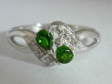 Stunning Russian Diopside & Diamond 9K Gold Ring Size N