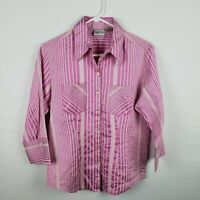 Chicos Women Button Down Shirt Size 0 S Pink White Striped 3/4 Sleeve Silk Blend
