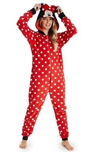 Disney Minnie Mouse Fleece Hooded All in One Pyjamas for Women, Ladies Gifts