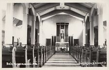 Intérieur de la Chapelle BAIE MISSISQUOI Quebec Canada Carte Photo 1946-48 RPPC