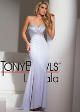 **SUPER SALE!!** Tony Bowls Le Gala Prom Dress 115545 White/Pink/Blue Size 8 NWT