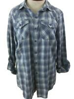 Ruff Hewn Woman top size 1X shirt blouse blue plaid long rolled sleeve NEW