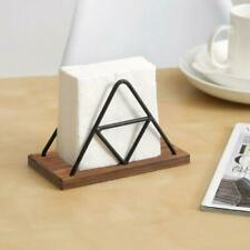 Triangle Design Metal Wire & Brown Wood Napkin Holder, Hold 100 Square Paper