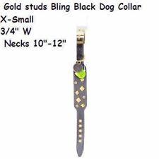 xs dog  puppy Collar Gold studs Bling  Rhinestone Black Dog Collar reg $15