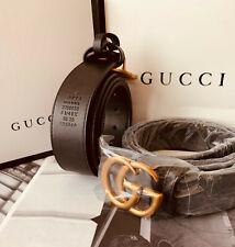 New!! Gucci Women's Gold Double Gg Authentic Buckle Men's Leather Belt Black