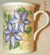Crown Trent Bone China Limited England Botanical Mug Cup Purple Flower UNUSED