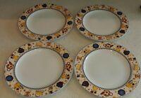 Set of 4 Vintage Dinner Large Plates 11 Inch by Sakura Teapots Debbie Mumm 1998