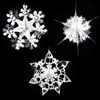 Christmas Foil Ceiling Decorations Garlands Stars Snowflakes – Silver & White