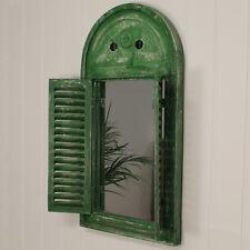 Distressed Green Wooden Shuttered Louvre Garden Mirror - Antique Style