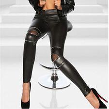 Black Women Leather SKINNY Pants ZIPPED Leggings Stretch Slim Trousers