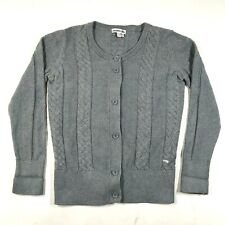 Lacoste Cardigan Sweater 36 Gray Cotton Cable Knit Button Front Long Sleeve