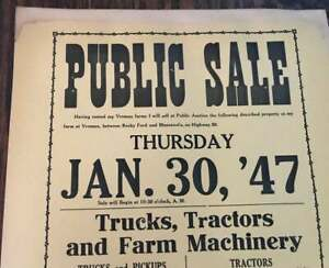 Vintage 1947 Public Auction Notice - Trucks, Tractors and ONE OLD HORSE!