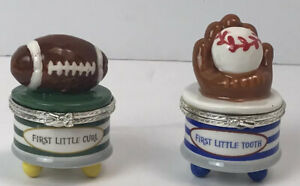 New Mudpie Boys Keepsake First Little Tooth and First Curl Baseball Football