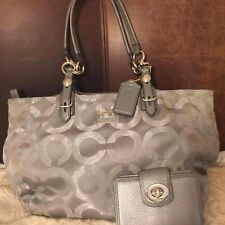 Coach Gray Silver Mia Op Art  Lurex & Sateen Signature Metallic Tote Bag F15746